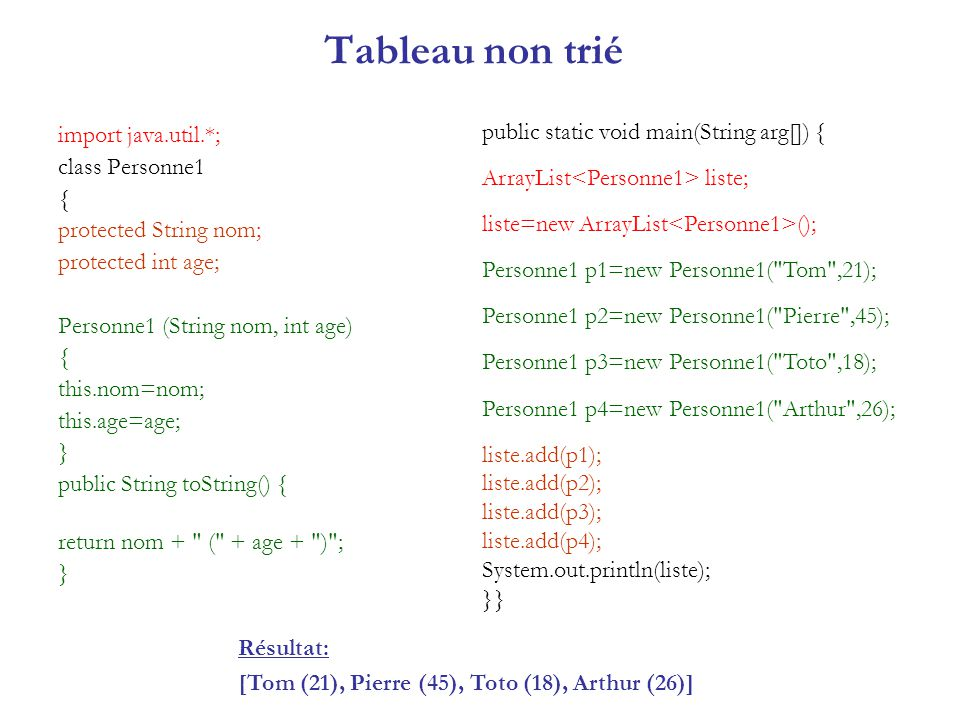 Tableau non trié public static void main(String arg[]) {